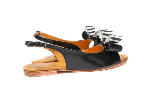 Womens Shoes Flat Black Sandals With Double Bow