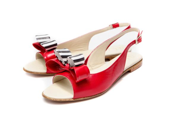 Womens Shoes Flat Red Sandals With Double Bow