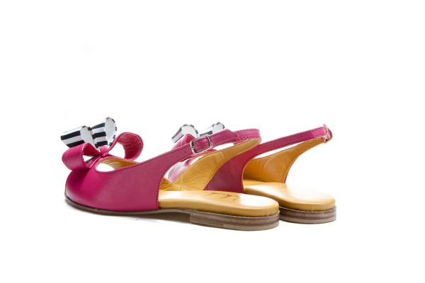 Womens Shoes Flat Pink Sandals With Double Bow