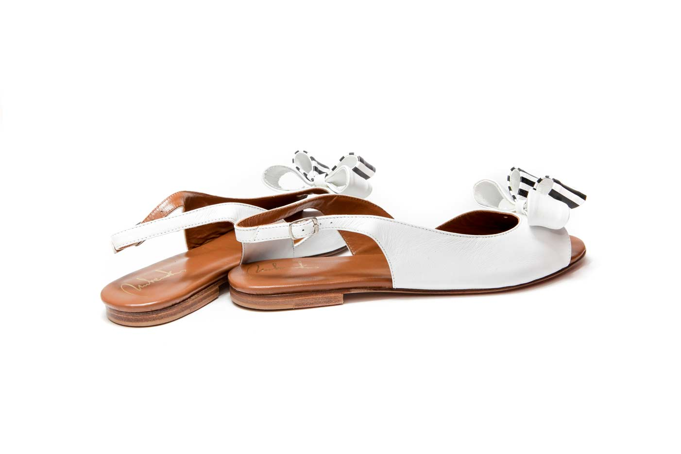 White bow sandals | Summer handmade
