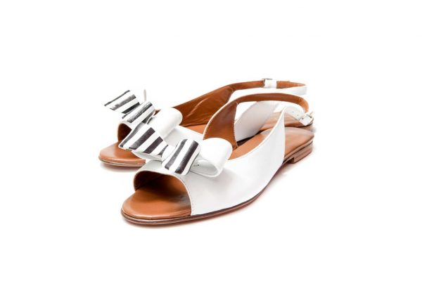 Womens Shoes Flat White Sandals With Double Bow
