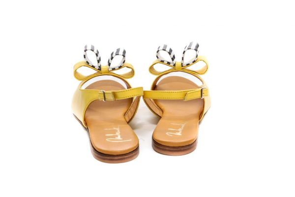 Womens Shoes Flat Yellow Sandals With Double Bow
