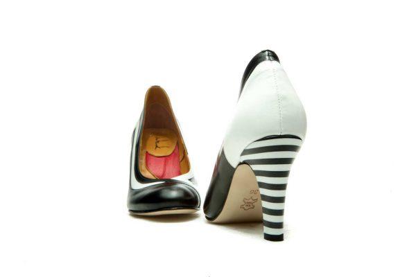 Black Handmade Womens Shoes Striped High Heel Pumps