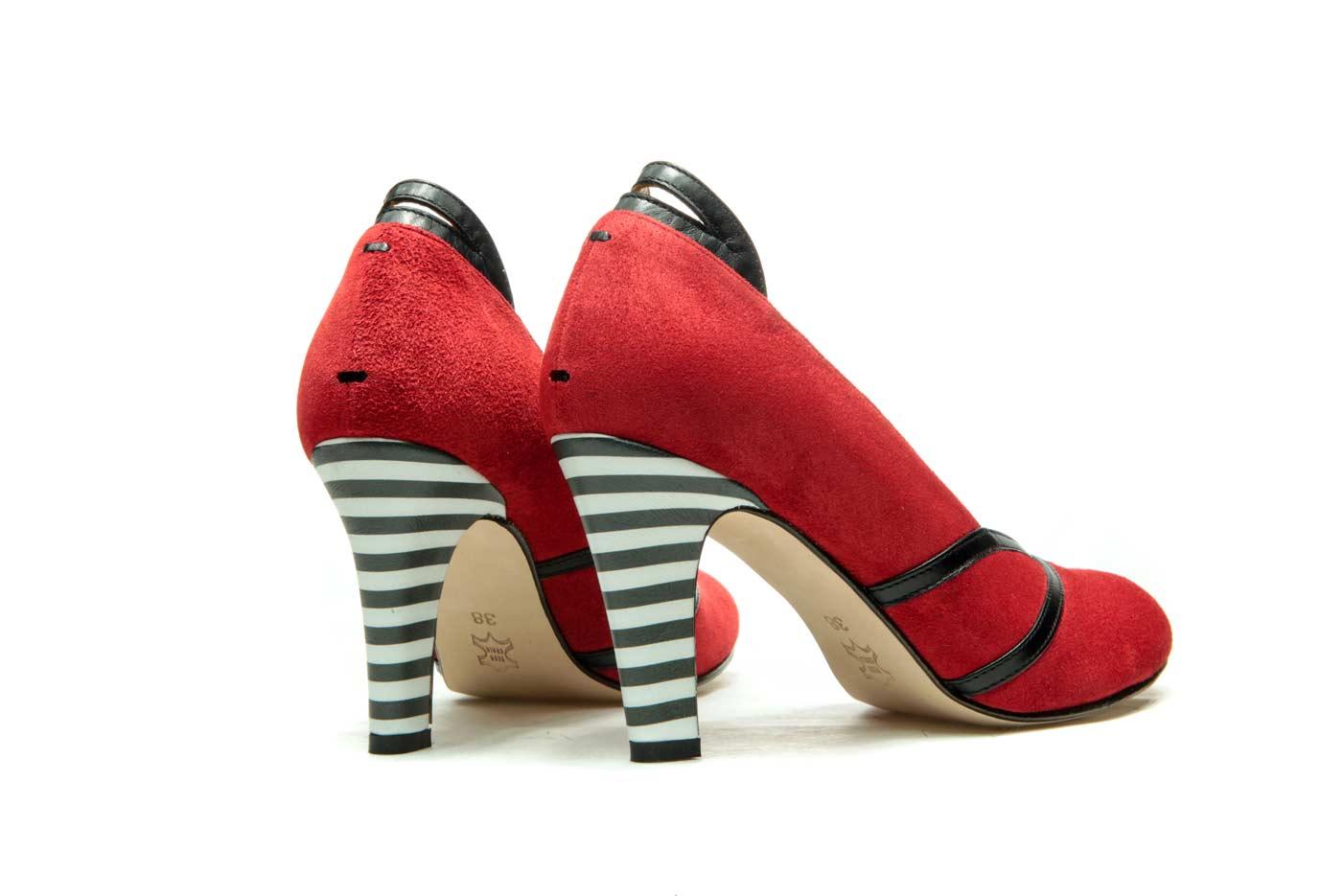 Red Handmade Womens Shoes Striped High Heel Pumps