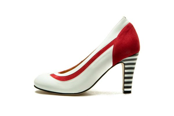 Red Handmade Womens Shoes Striped High Heel Pumps