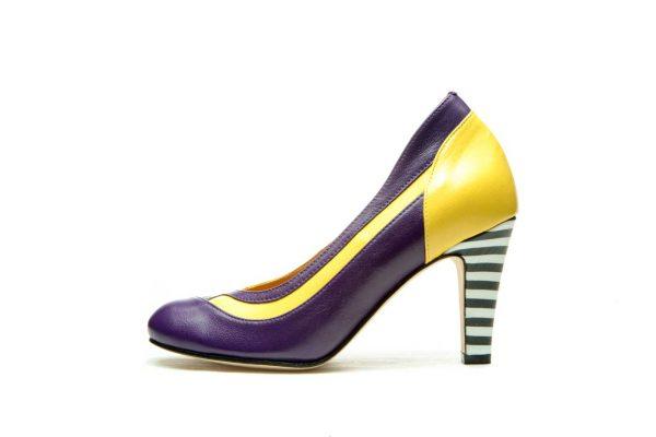 Yellow Handmade Womens Shoes Striped High Heel Pumps