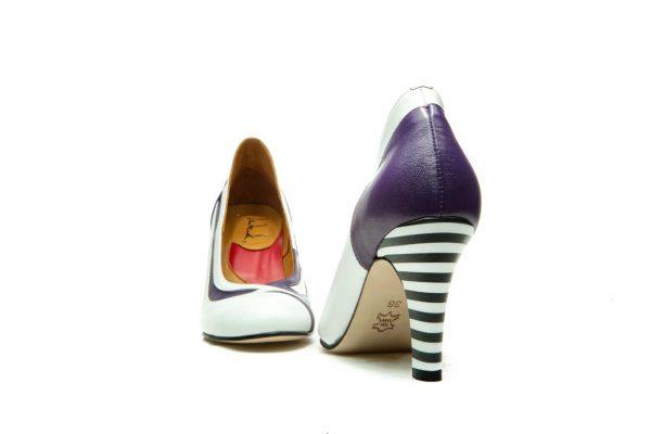 Purple Handmade Womens Shoes Striped High Heel Pumps
