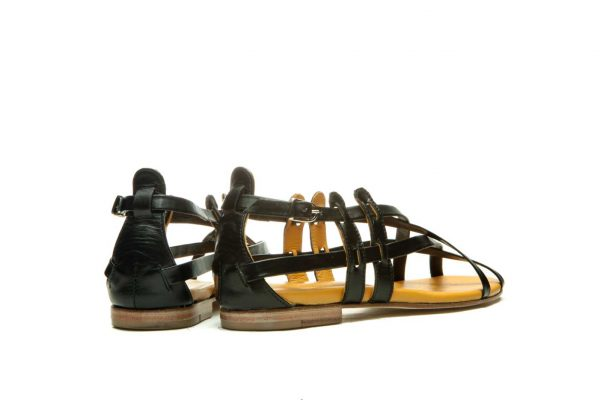 Womens Shoes Flat Black Sandals With Criss Cross Straps