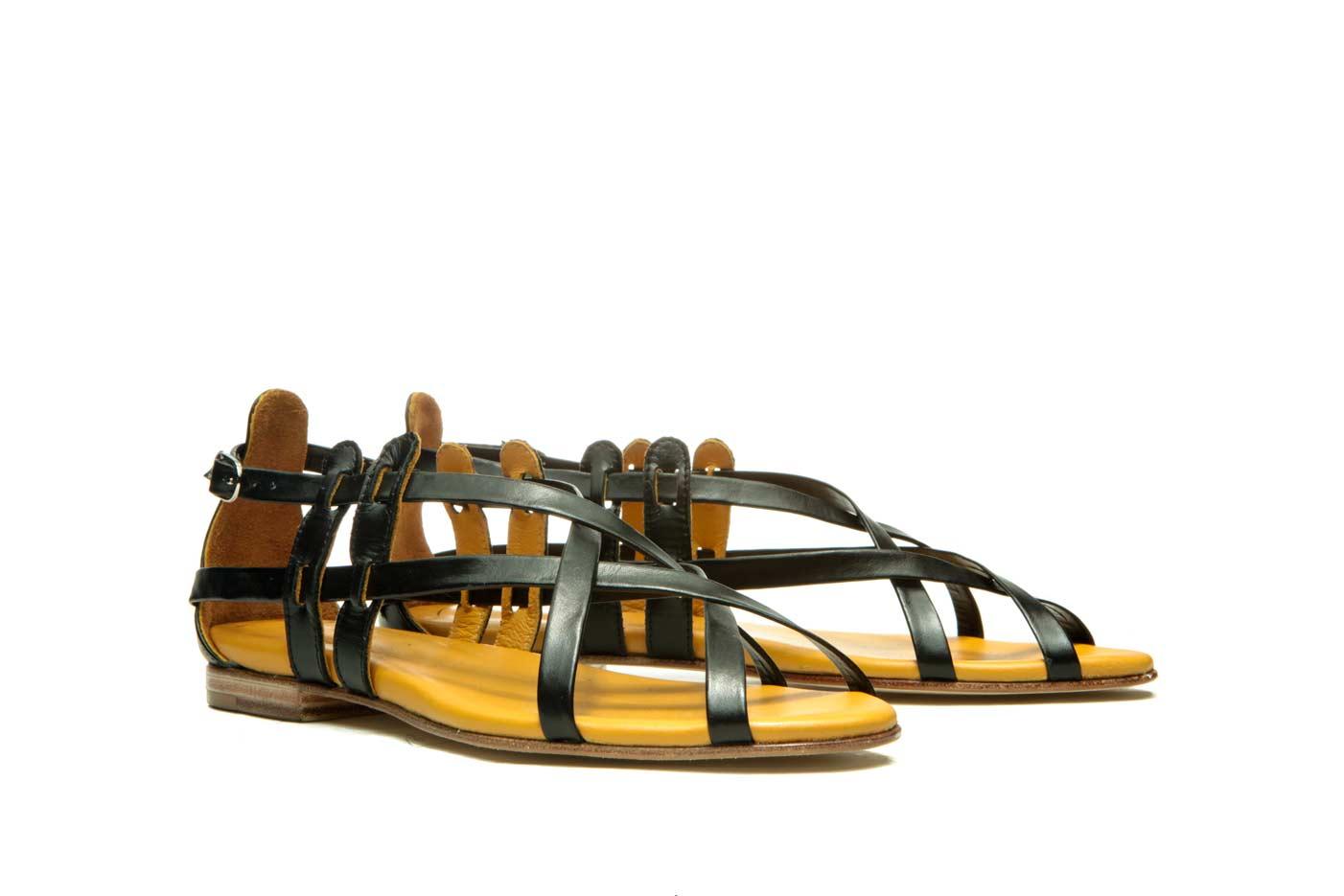 Black strappy flat sandals   Handmade