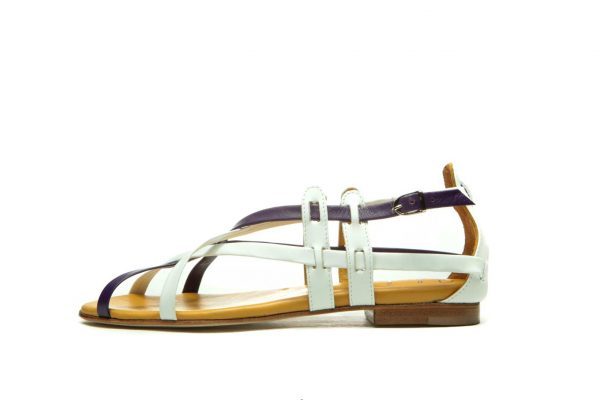 Womens Shoes Flat Purple And White Sandals With Criss Cross Straps