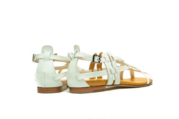Womens Shoes Flat White Sandals With Criss Cross Straps