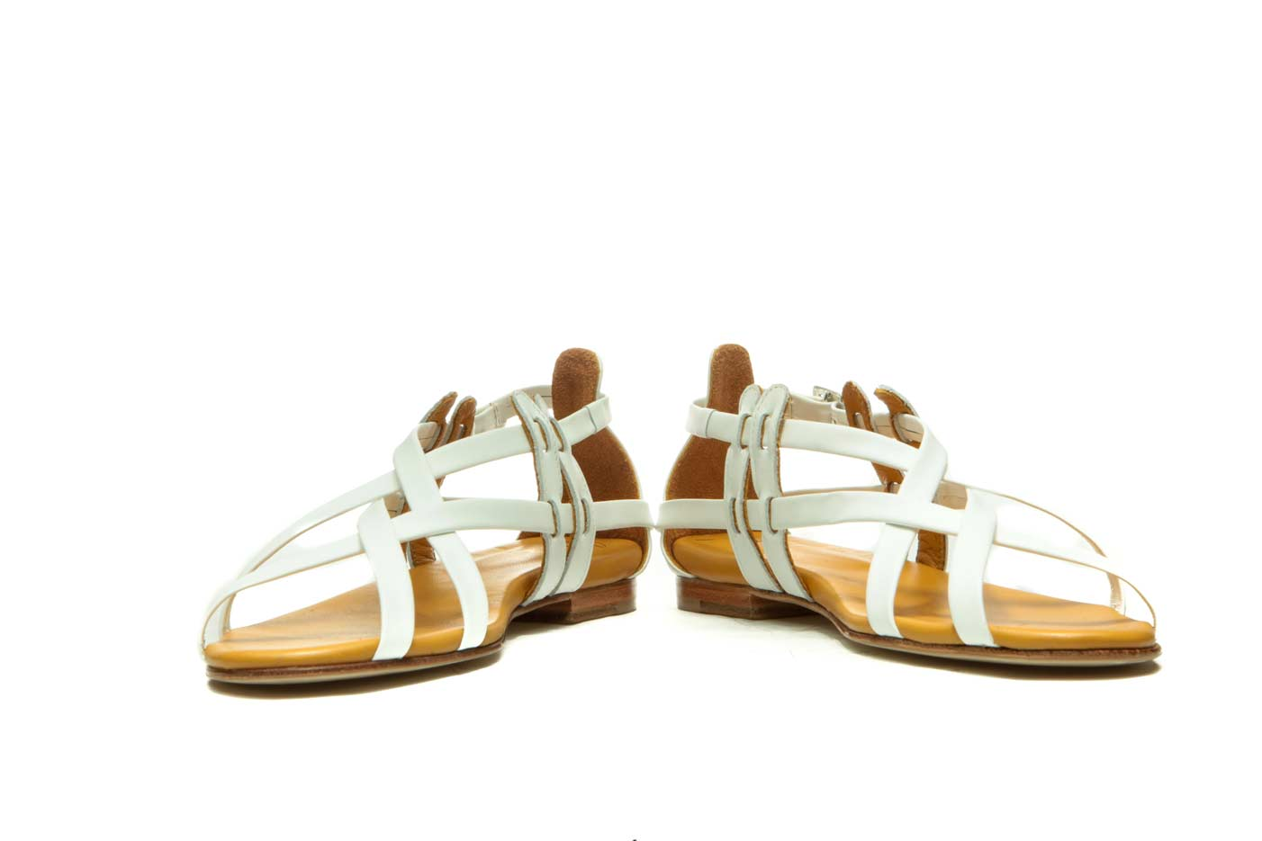 White strappy flat wedding sandals