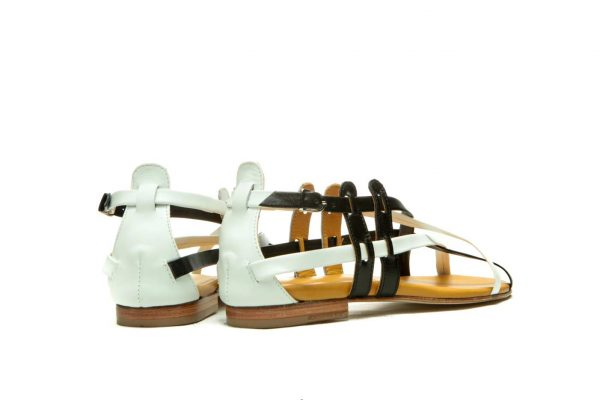 Womens Shoes Flat Black And White Sandals With Criss Cross Straps