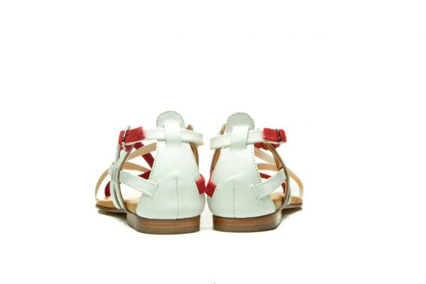 Womens Shoes Flat Red And White Sandals With Criss Cross Straps