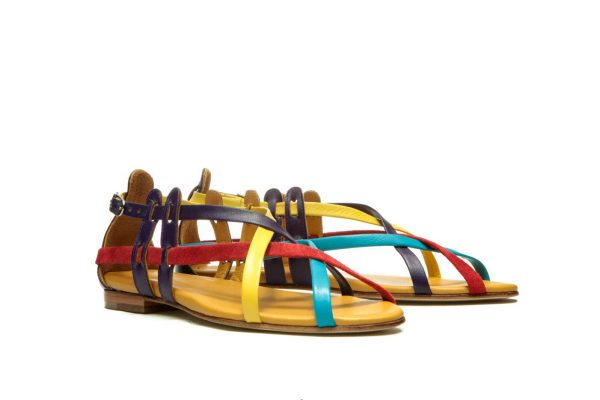Womens Shoes Flat Multicolor Sandals With Criss Cross Straps