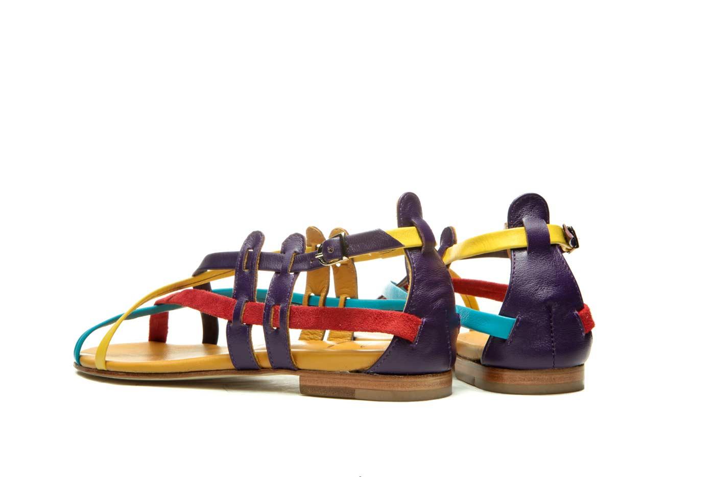 Colorblock flat sandals | Handmade