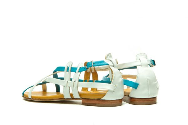 Womens Shoes Flat Blue And White Sandals With Criss Cross Straps