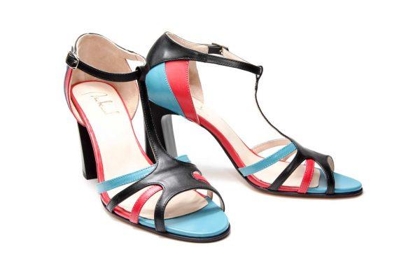 Handmade Womens Shoes Black Block High Heel Sandals With T-Bar Strap