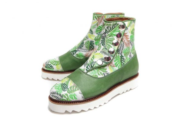 Womens Shoes Green Flat Ankle Button Boots