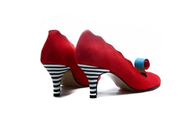 Handmade Womens Shoes Red Scalloped Edge Mid Heel Pumps