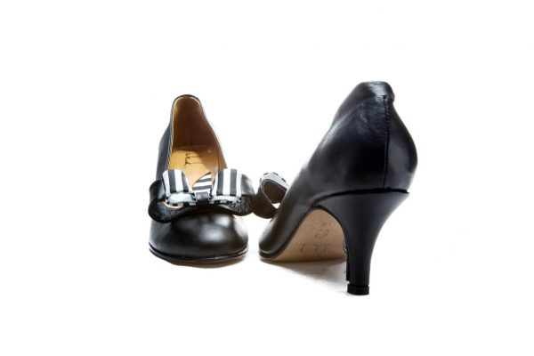 Handmade Womens Shoes Black Mid Heel Pumps With Double Bow