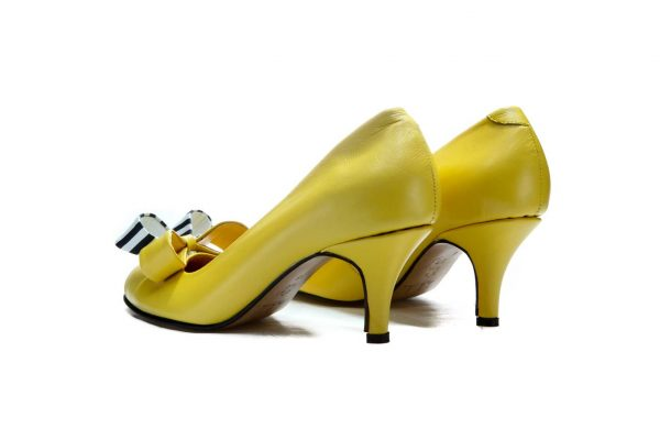 Handmade Womens Shoes Yellow Mid Heel Pumps With Double Bow