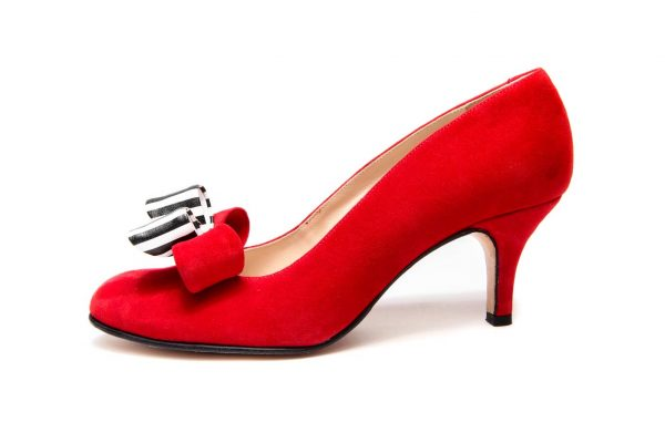 Handmade Womens Shoes Red Mid Heel Pumps With Double Bow