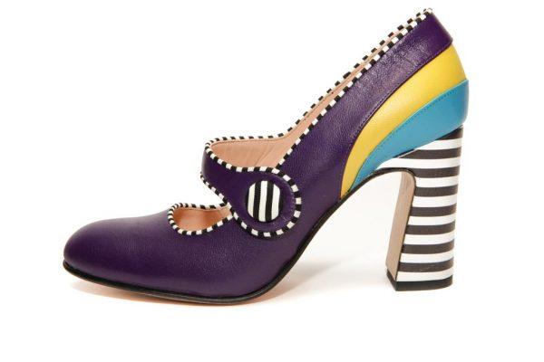 Handmade Womens Shoes Purple Mary Jane Block Heel Pumps