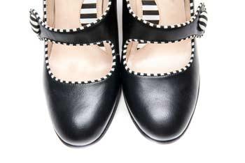Handmade Womens Shoes Black Mary Jane Block Heel Pumps