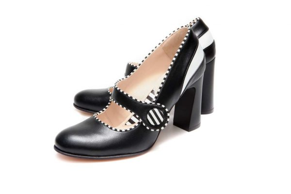 Handmade Womens Shoes Black Mary Jane Block Heel Pumps