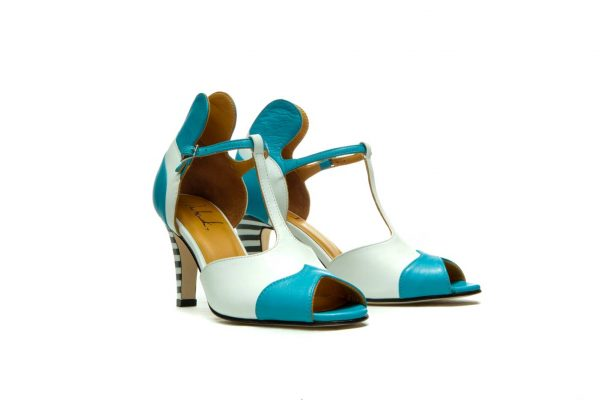 Handmade Womens Shoes Blue High Heel Sandals With T-Bar Strap