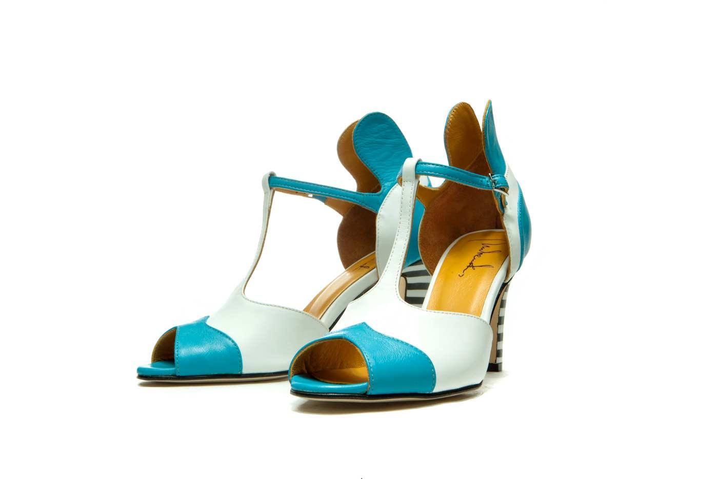 Blue peep toe high heels   Wedding