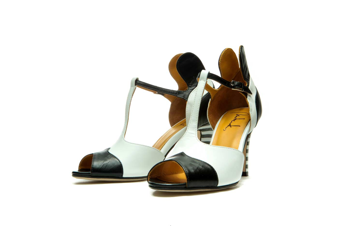 Black and white sandals heels