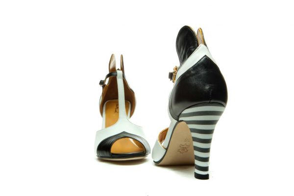 Handmade Womens Shoes Black High Heel Sandals With T-Bar Strap