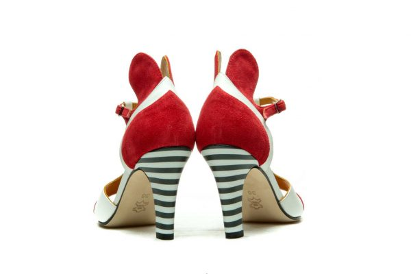 Handmade Womens Shoes Red High Heel Sandals With T-Bar Strap