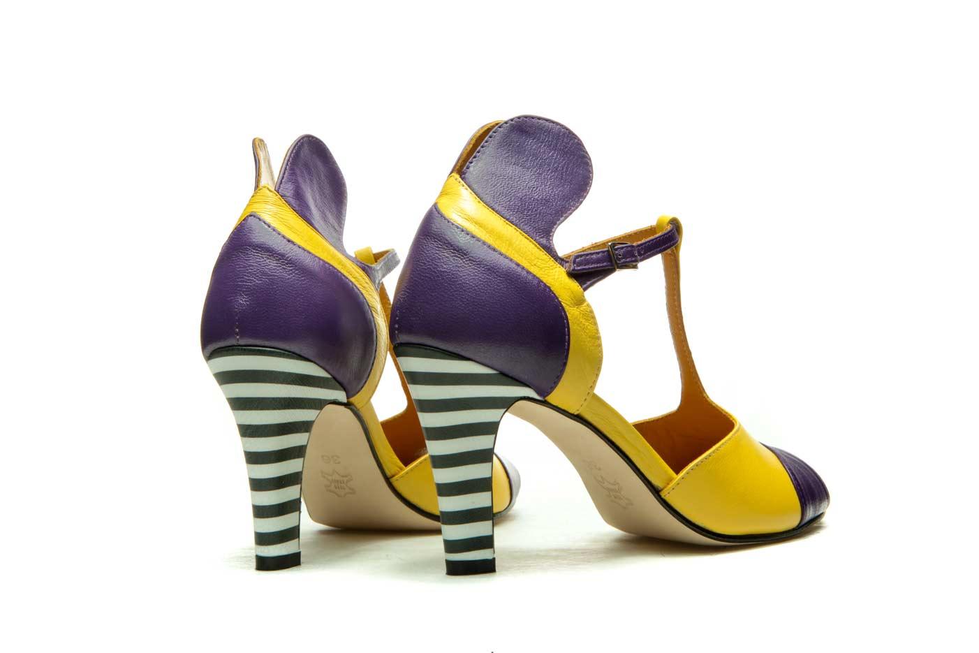 Purple and yellow sandals heels