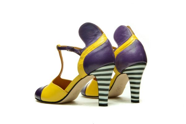 Handmade Womens Shoes Yellow And Purple High Heel Sandals With T-Bar Strap