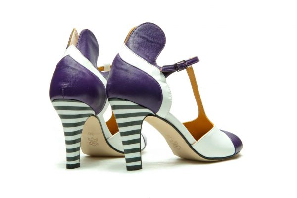 Handmade Womens Shoes Purple High Heel Sandals With T-Bar Strap