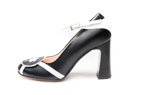 Handmade Womens Shoes Black Block Heel Pumps With Ankle Strap