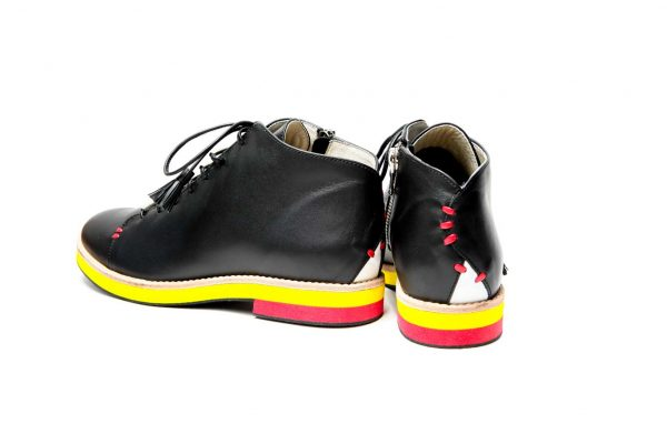 Womens Shoes Black Open Lacing Ankle Boots Derby Shoes