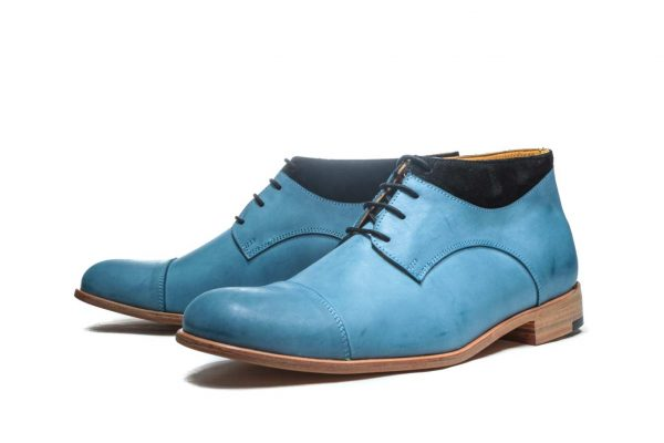 Handmade Mens Blue Leather Ankle Boots With Open Lacing