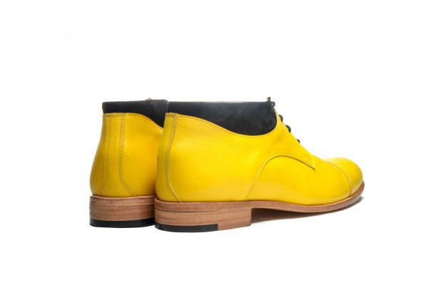 Handmade Mens Yellow Leather Ankle Boots With Open Lacing