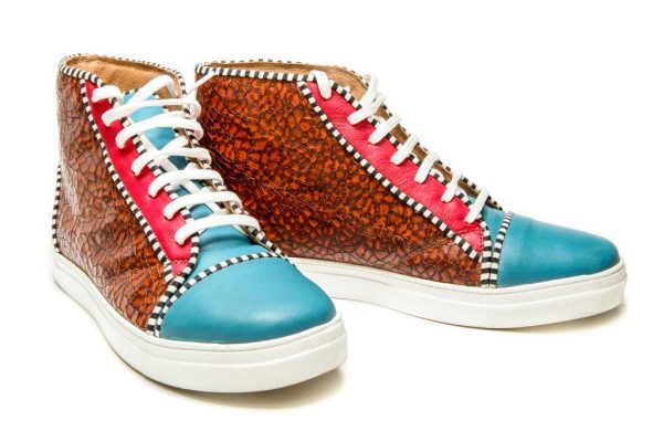Womens Shoes Tie Up Off Court Sneakers Blue And Brown