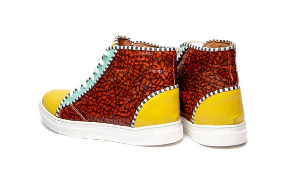 Womens Shoes Tie Up Off Court Sneakers Yellow And Brown
