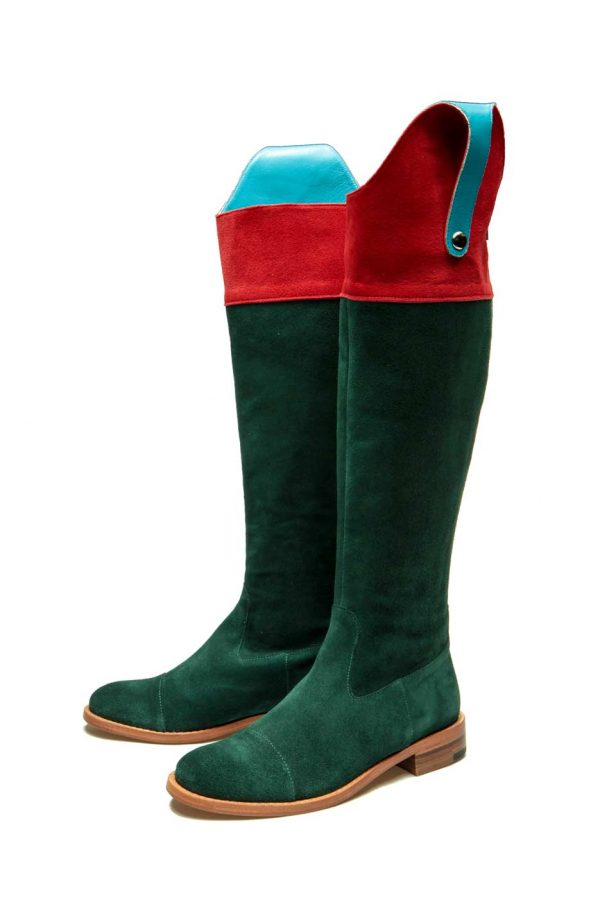 Womens Shoes Flat Green And Red High Boots