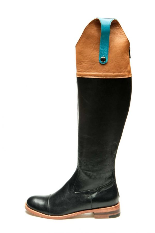 Womens Shoes Flat Black And Brown High Boots