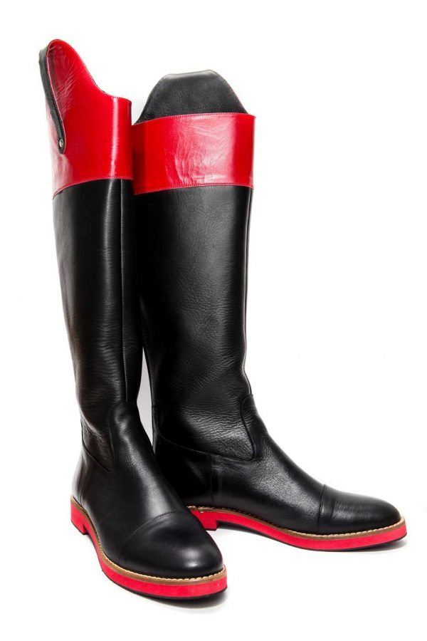 Womens Shoes Flat Black And Red High Boots