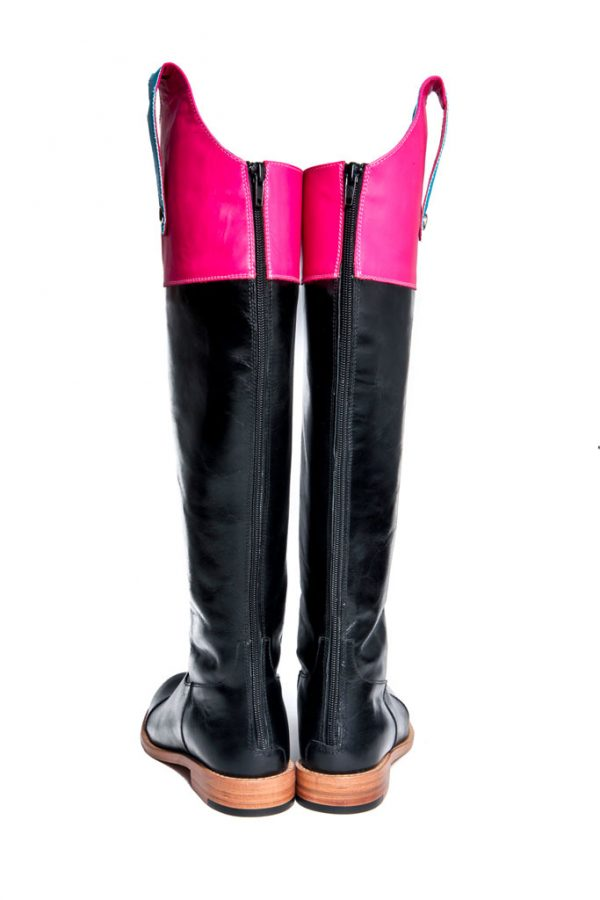 Womens Shoes Flat Black And Pink High Boots