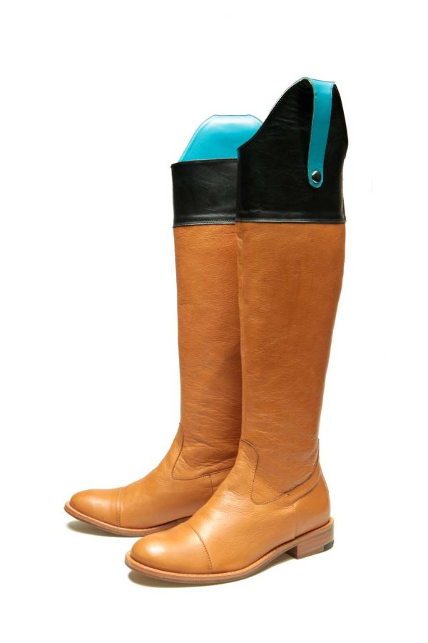 Womens Shoes Flat Brown And Black High Boots