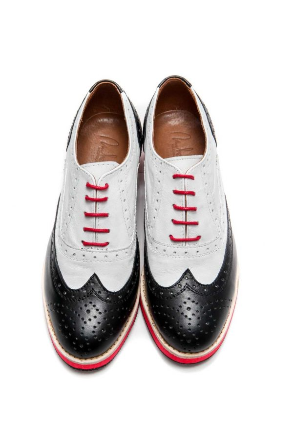 Womens Shoes Black And White Lace Up Oxford Shoes